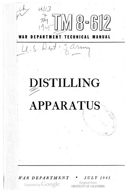 United States. War Department - TM 8-612 Distilling Apparatus