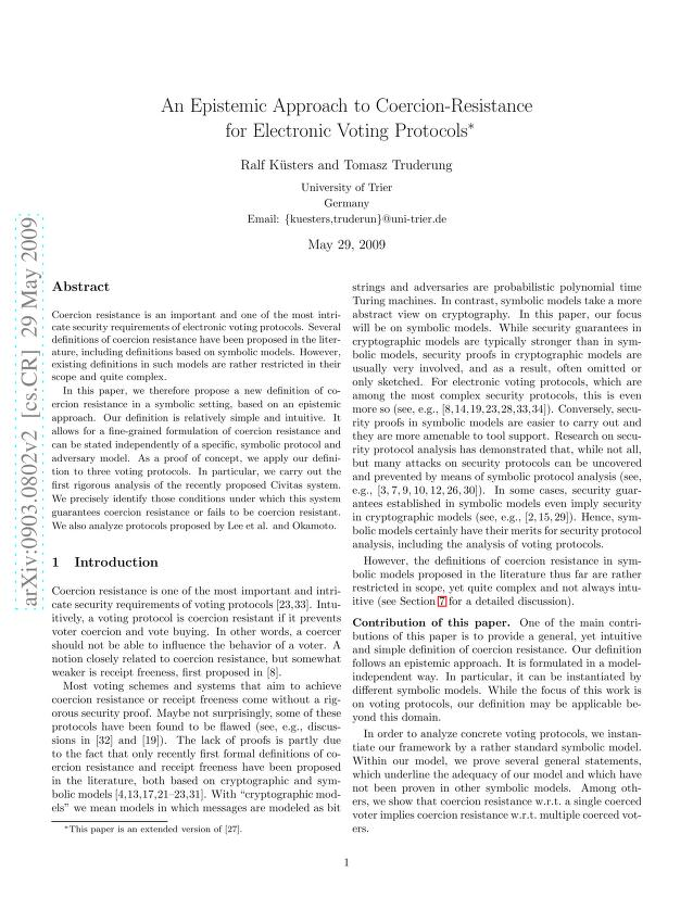 Ralf Kuesters - An Epistemic Approach to Coercion-Resistance for Electronic Voting Protocols