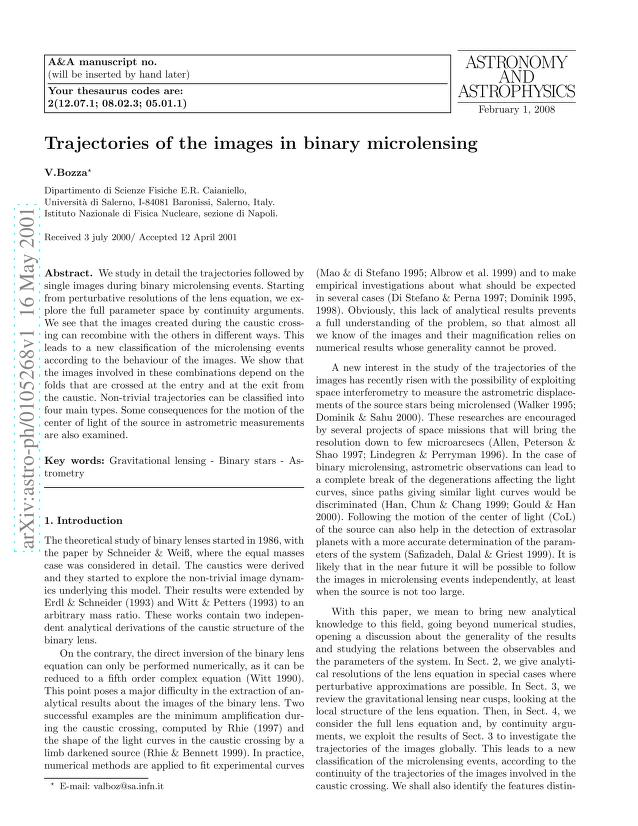 V. Bozza - Trajectories of the images in binary microlensing
