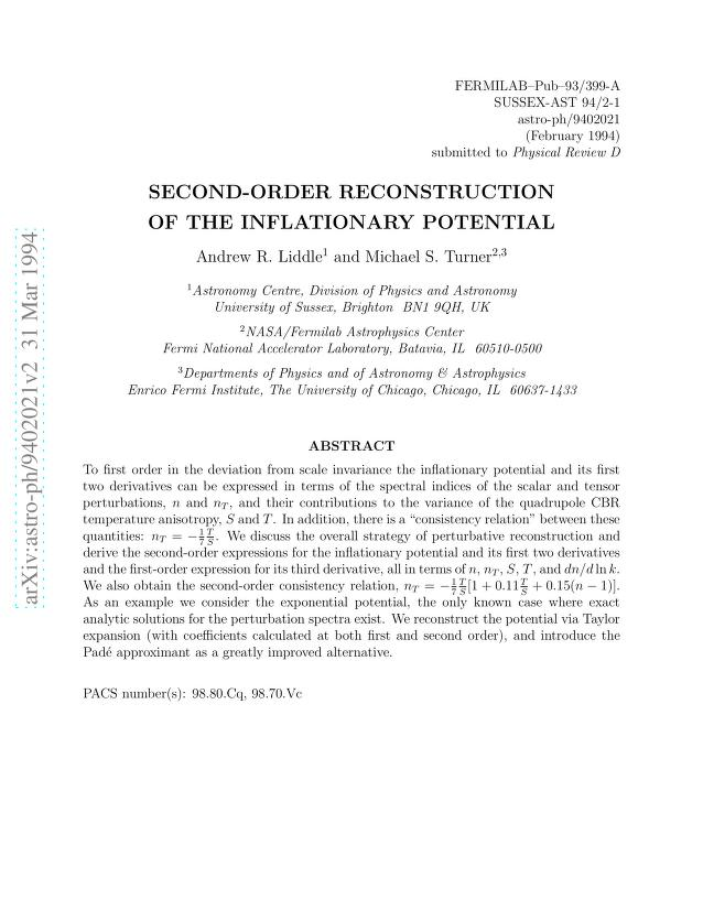 Andrew R Liddle - Second-Order Reconstruction of the Inflationary Potential
