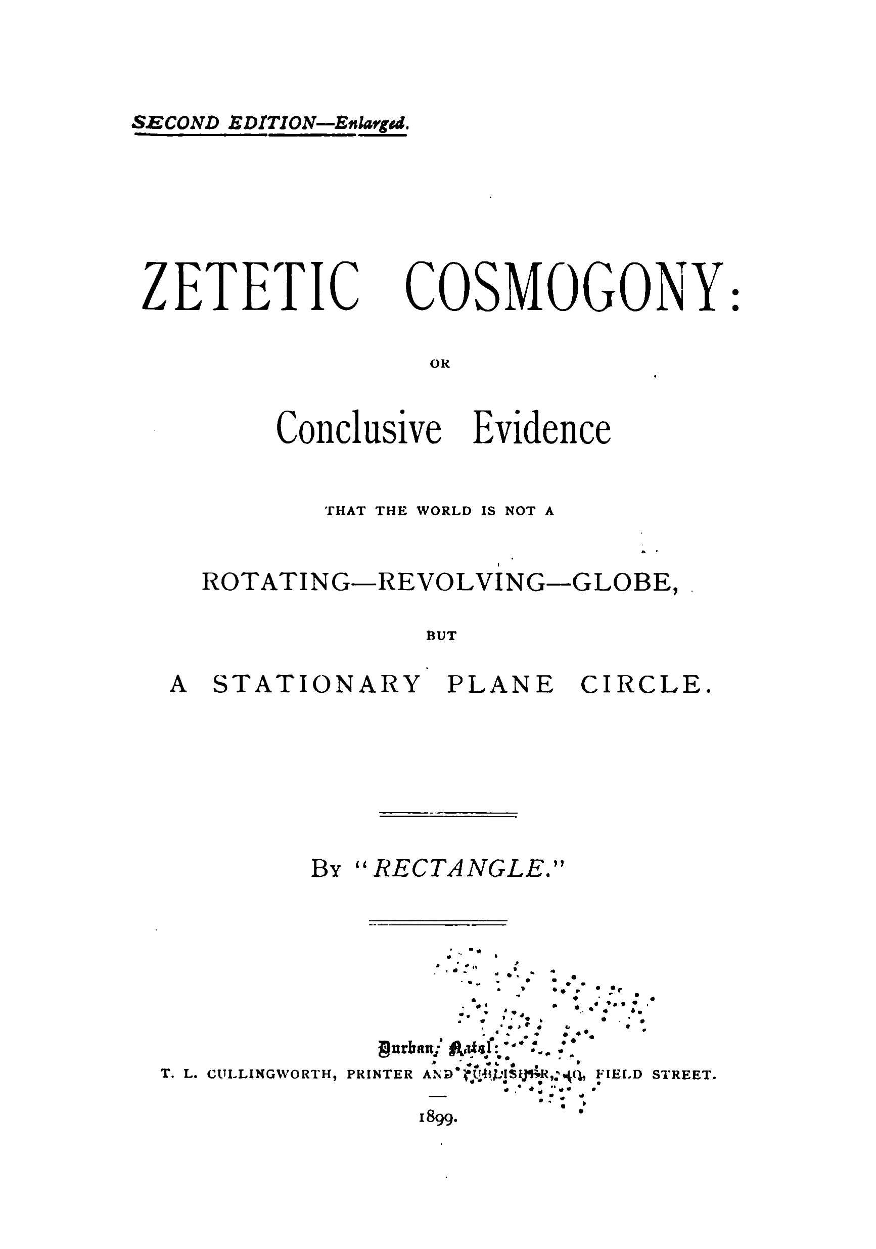1899 Zetetic Cosmogony Winship Flat Earth Audio Book MP3 ...