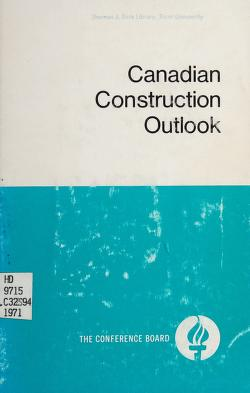 Cover of: Canadian construction outlook | Symposium on the Canadian Construction Outlook Montreal 1971.