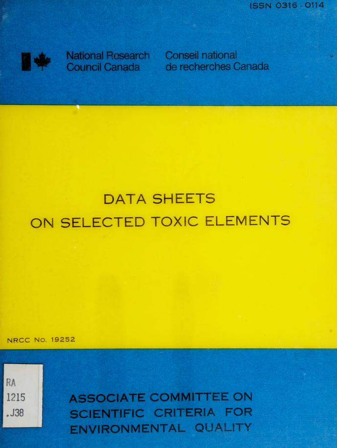 Data sheets on selected toxic elements by J. F. Jaworski