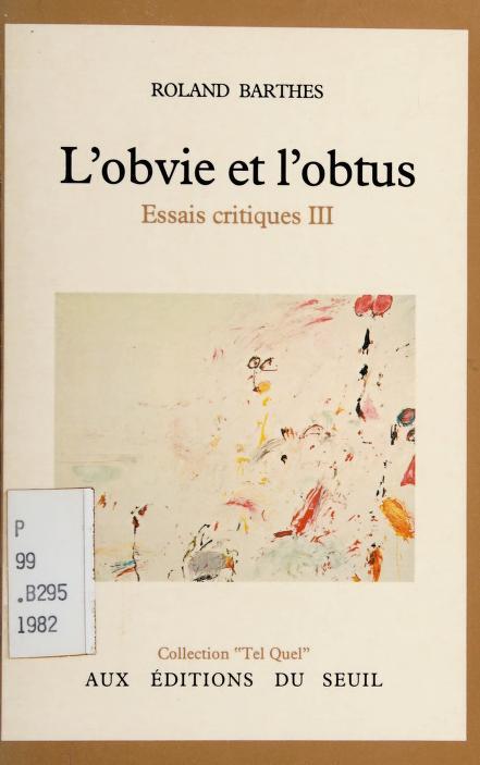 L' obvie et l'obtus by Roland Barthes
