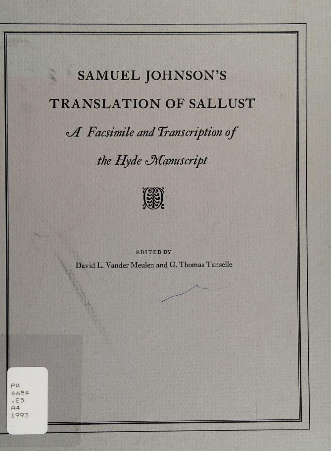 Samuel Johnson's translation of Sallust by Sallust